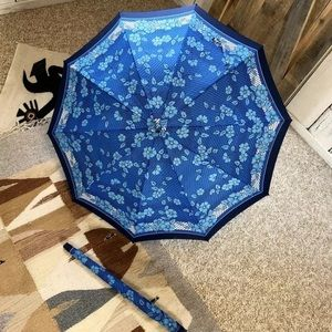 60s Mod Turquoise Floral Umbrella Wooden Handle